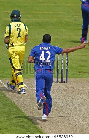 CHESTER LE STREET, ENGLAND. JULY 07 2012: England's Ravi Bopara, celebrates the wicket of Australia's George Bailey, during the 4th one day international between England and Australia