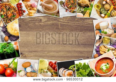 Frame photos of food on a wooden table