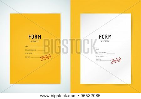 Yellow folder blank. Blank, paper, form and text. Vector stock element for design.