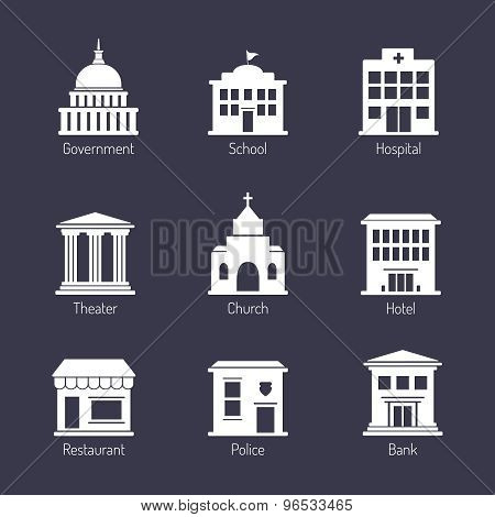 Government building icons and symbols. Editable vector set poster