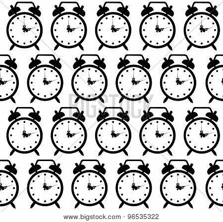 doodle alarm clock seamless pattern background