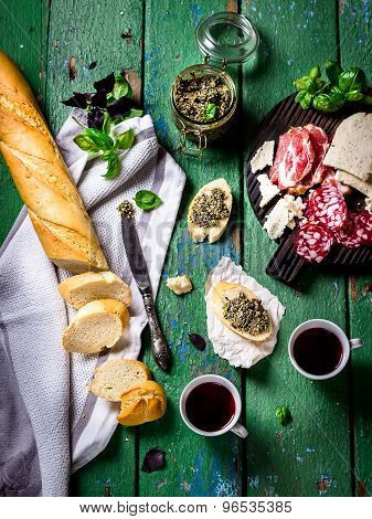 Meat And Cheese, Baquette,pesto And Wine.