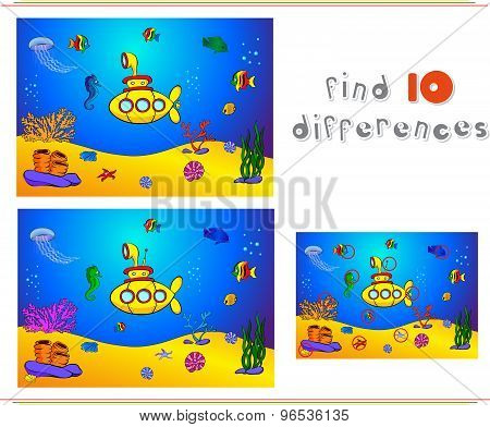 Submarine And Fish Under Water. Seahorse, Jellyfish, Coral And Starfish On The Ocean Floor. Educatio