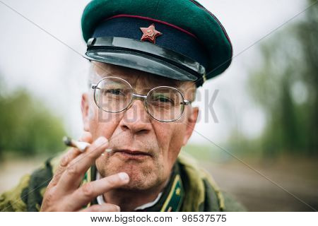 Unidentified re-enactor dressed as Soviet soldier during events