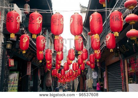 Lantern Hanging In Fenghuang Ancient City.