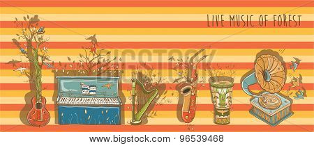 Vector Bright Illustration Of Live Music With Musical Instruments