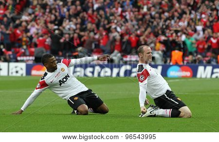 LONDON, ENGLAND. May 28 2011: Manchester's forward Wayne Rooney celebrates scoring  during the 2011UEFA Champions League final between Manchester United and FC Barcelona, at Wembley Stadium