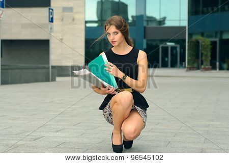 Business Woman Lifts Off The Ground Folders