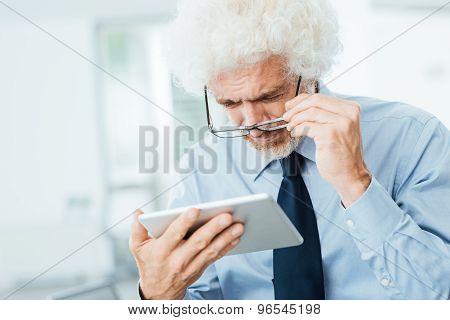 Businessman Having Eyesight Problems