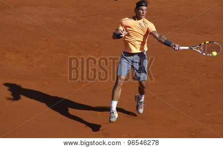 MONTE CARLO, MONACO. APRIL 20 2012 Rafael Nadal (ESP) in action during the quarter final singles match between Rafael Nadal (ESP) and Stanislas Wawrinka (SUI) at the ATP Monte Carlo Masters  .
