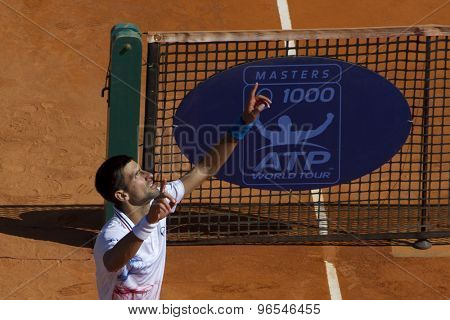 MONTE CARLO, MONACO. APRIL 21 2012 Novak Djokovic (SRB) celebrates winning the semi final singles match between Novak Djokovic (SRB) and Tomas Berdych (CZE) at the ATP Monte Carlo Masters  .