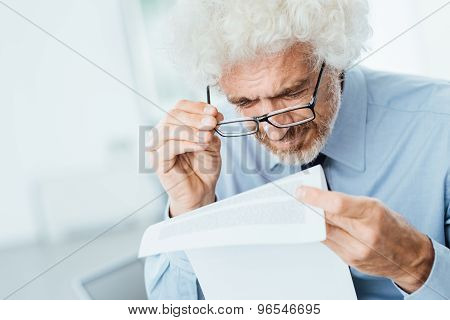 Office Worker Having Eyesight Problems