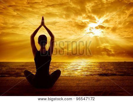 Yoga Meditation Concept, Woman Silhouette Meditating In Healthy Pose, Sun Light Rays
