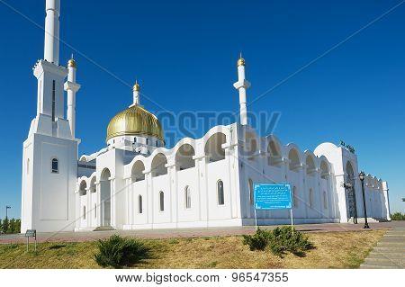 Exterior of the Nur Astana mosque in Astana, Kazakhstan.
