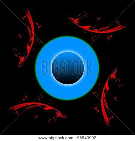 Graphic Composition With Red Elements And A Blue Circle