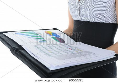 businesswoman holding documents. Isolated on white background poster
