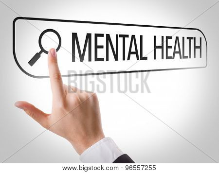 Mental Health written in search bar on virtual screen
