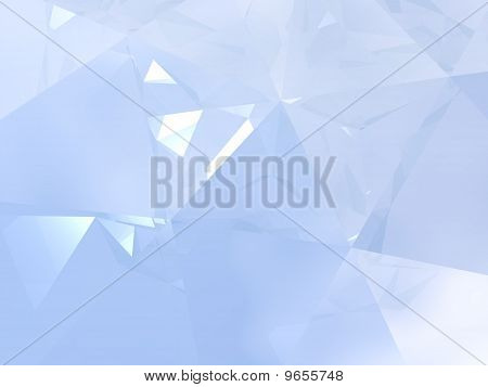 Abstract background with an elegant play of soft blue light and reflections. This image is a 3D computer visualization of the interior of a diamond. poster