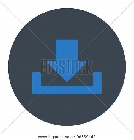 Download icon from Primitive Round Buttons OverColor Set. This round flat button is drawn with smooth blue colors on a white background. poster