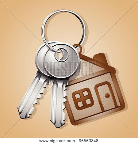 Vector bunch of keys with house shaped trinket