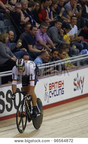 LONDON, ENGLAND. FEBRUARY 19 2012: Maximillian Levy (GER) competes in the mens sprint at the UCI Track Cycling World Cup at the London Velodrome, Queen Elizabeth 2nd Park