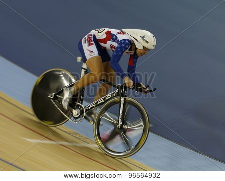 LONDON, ENGLAND. FEBRUARY 19 2012: Sarah Hammer (USA) winner of the womens Omnium at the UCI Track Cycling World Cup at the London Velodrome, Queen Elizabeth 2nd Park