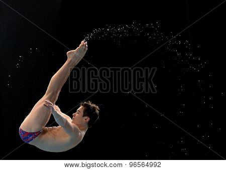 LONDON, GREAT BRITAIN - APRIL 26 2015: Chris Mears of Great Britain training during the FINA/NVC Diving World Series at the London Aquatics Centre