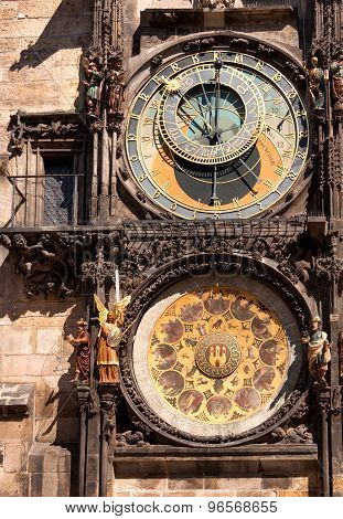 Famous astronomical clock in Old Town Square, Prague, Czech Republic