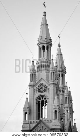 The bells towers of Saints Peter and Paul Church in San Francisco California.(BW) poster