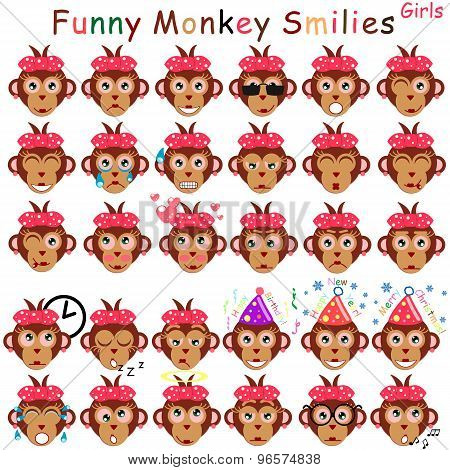 Female Set Of Smilies In Form Of Head Monkeys With Different Emotions