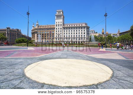 BARCELONA, SPAIN - JULY 10: A view of Placa Catalunya on July 10, 2015 in Barcelona, Spain. This square is considered to be the city center and some of the most important streets meet there