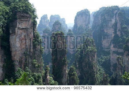 Mysterious Mountains Zhangjiajie, Hunan Province In China.
