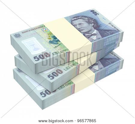 Romanian currency isolated on white background. Computer generated 3D photo rendering.