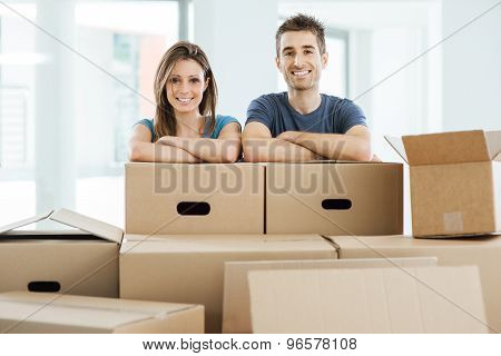 Young Couple Moving In Their New Home