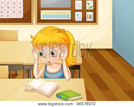 Girl sitting alone in a classroom looking at blank pages in her book with worried expression