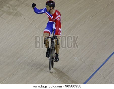 LONDON, ENGLAND. FEBRUARY 19 2012: Sir Chris Hoy (GBR) during the final of the mens sprint, at the UCI Track Cycling World Cup at the London Velodrome, Queen Elizabeth 2nd Park