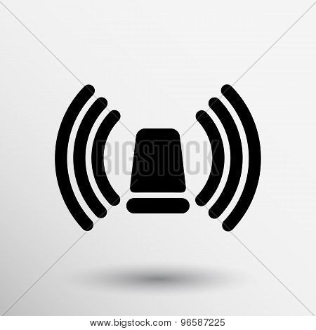 icon beacon siren isolated caution police white medical