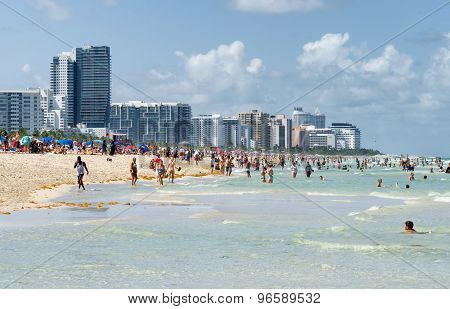 People enjoying the beach at south Miami