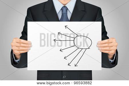 Businessman Holding Blank Flow Chart