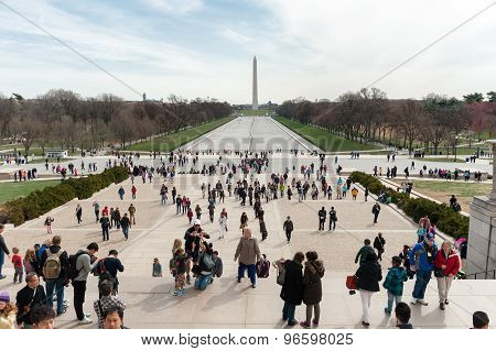 Washington DC, USA - April 05, 2015 - People on a stairs of Lincoln memorial and view on Washington