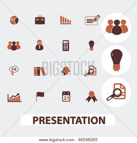 presentation, marketing, management, chart icons, signs, illustrations set, vector