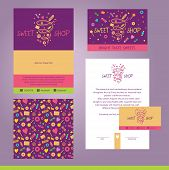 Vector stationery template design for cafe, shop, confectionery. Documentation for business, logo design, corporate style. Sweet shop. Purpure, ping color. Design element. poster