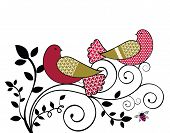 Love Birds Stylized With flourish vine and pink bee poster