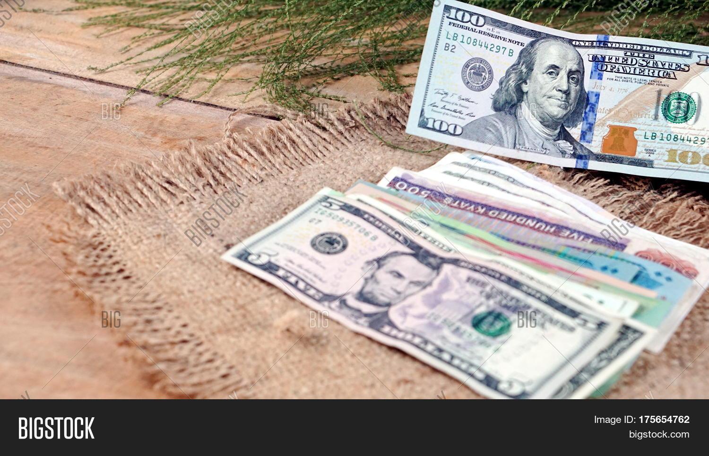Us Dollars Korean Won Euro Bills And Some Money Banknotes Currency