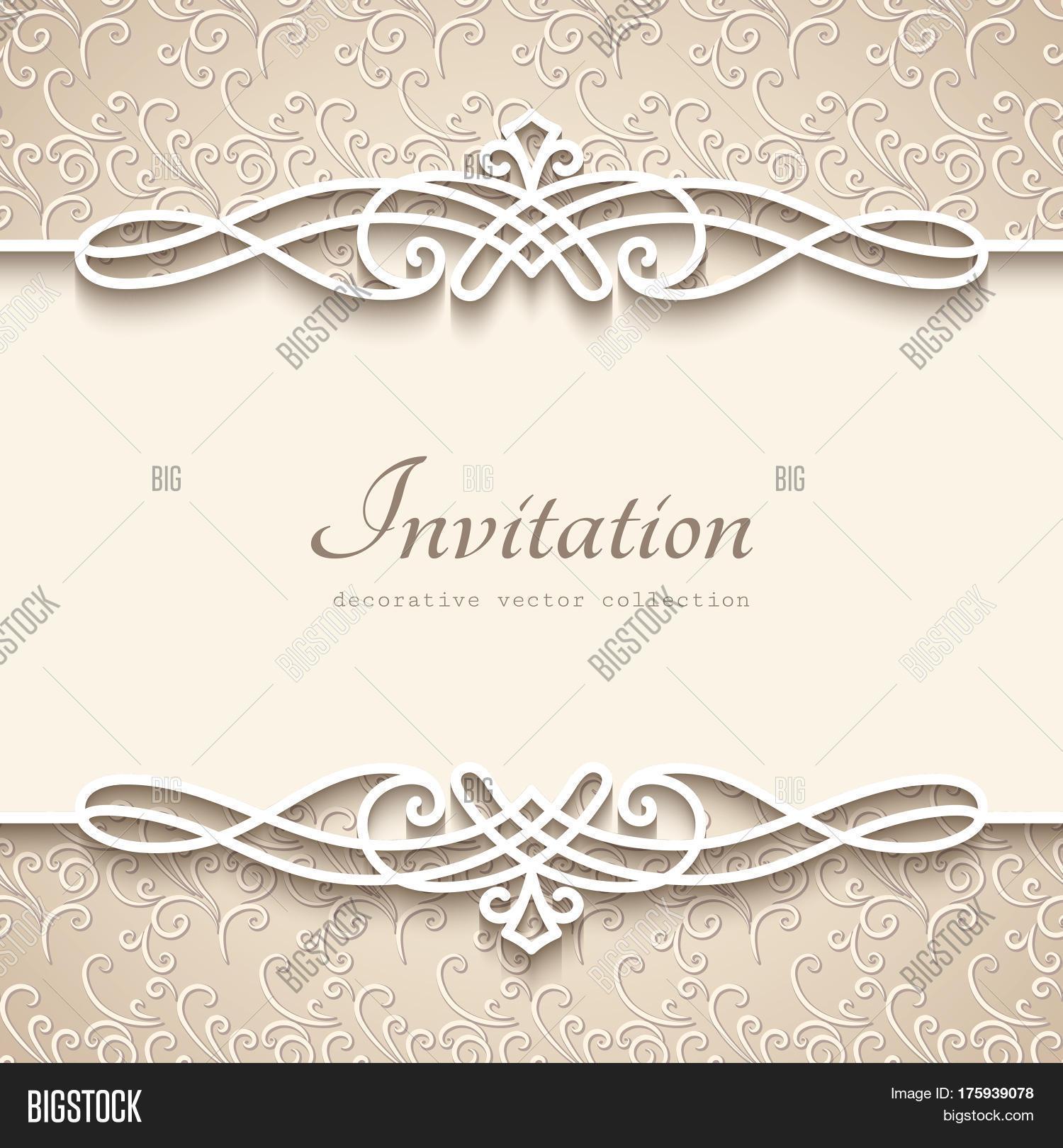 Vintage background cutout paper vector photo bigstock vintage background with cutout paper border decoration decorative flourish frame template wedding invitation or junglespirit Image collections