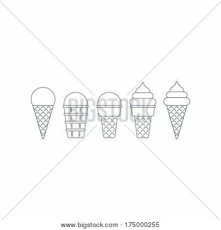 Linear ice cream cone icon set, ball and twisted top, pointed and flat bottom, different shape, black outline, mono line symbol on white, vector illustration
