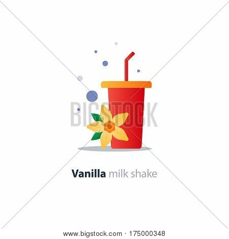 Fresh vanilla flavor milk shake, red tumbler glass with stripes, vanilla flower icon, refreshing smoothie drink, vector flat design illustration
