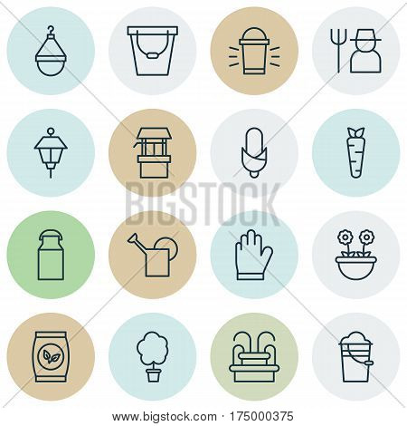 Set Of 16 Gardening Icons. Includes Hanger, Wood Pot, Lantern And Other Symbols. Beautiful Design Elements.