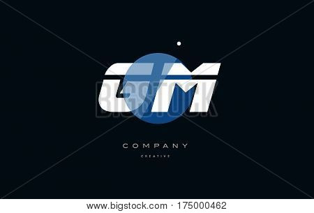 Gm G M  Blue White Circle Big Font Alphabet Company Letter Logo