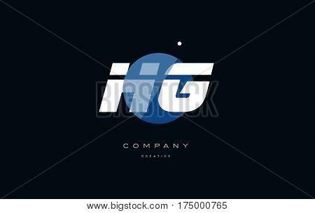 Hg H G  Blue White Circle Big Font Alphabet Company Letter Logo